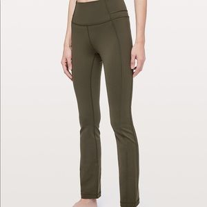 Lululemon Leggings olive groove straight  size 8